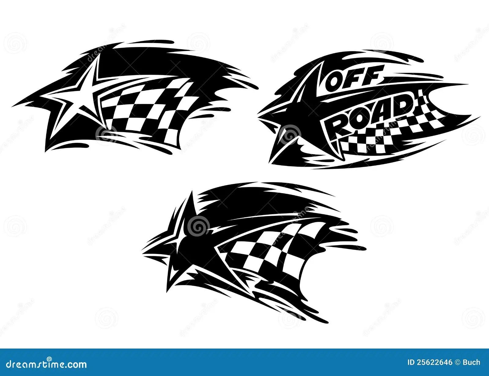 Het Rennen Van Sterren Met Vlaggen Vector Illustratie