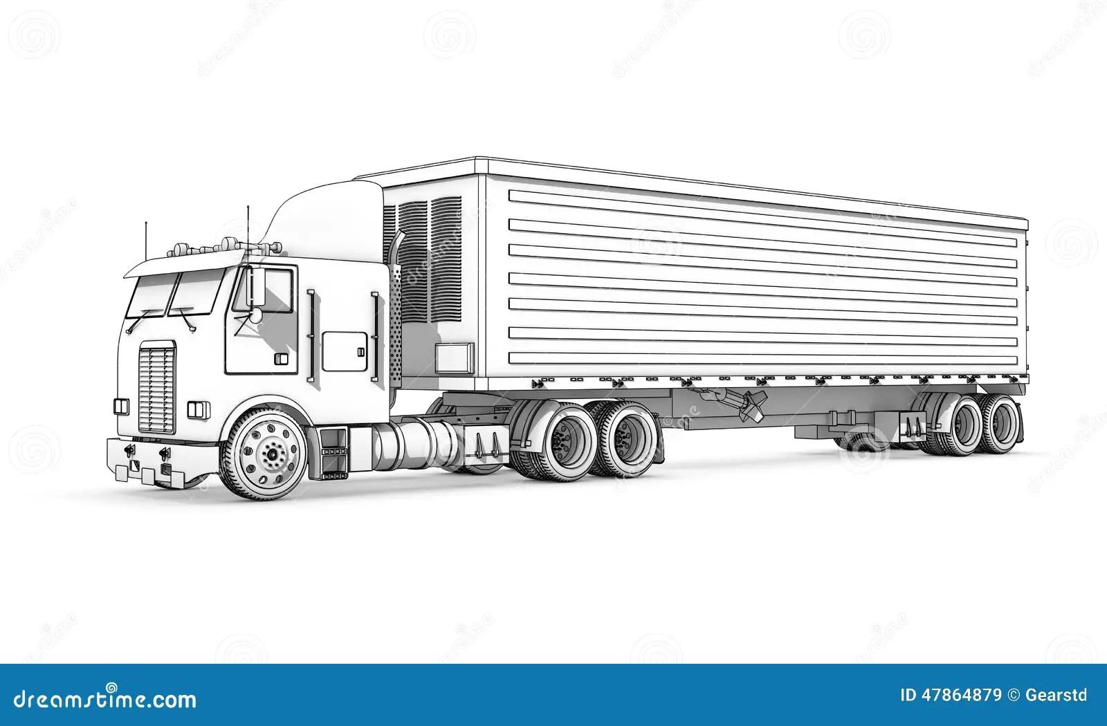 Het Trekken Zwart Witte Schets Van Vrachtwagen Stock