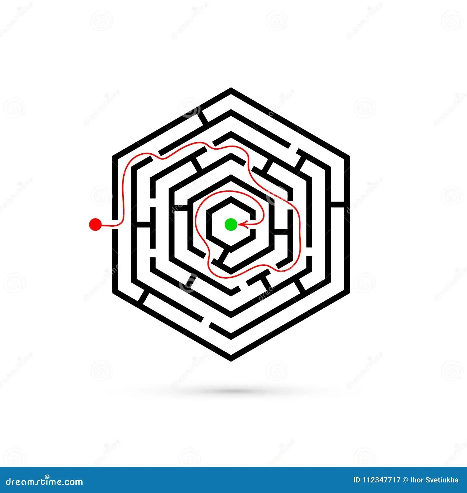 Hexagon Maze With Way To Center Stock Vector
