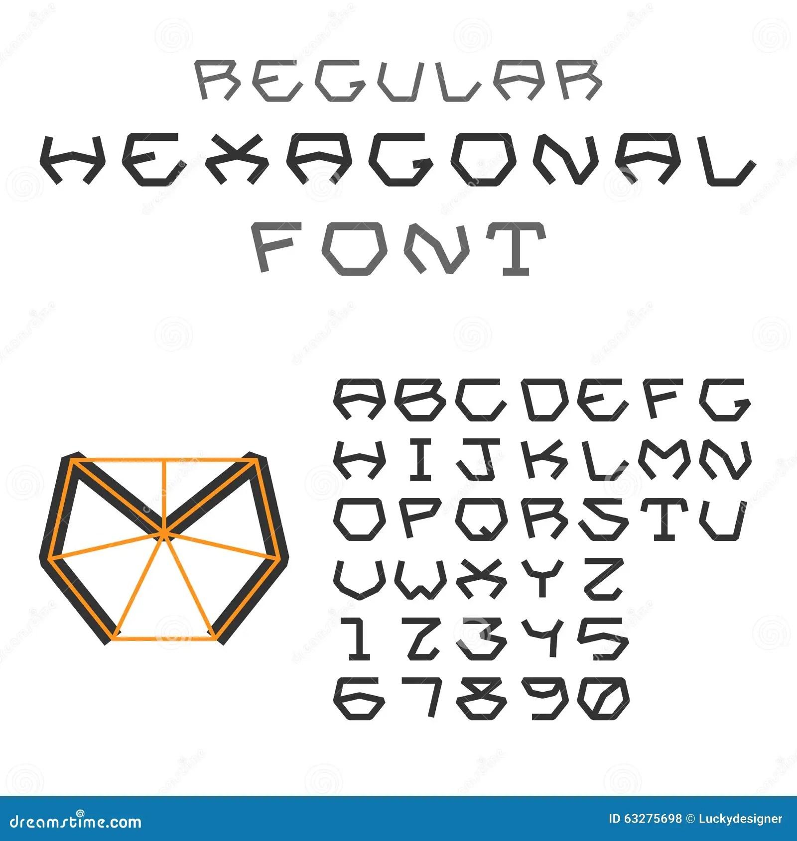 Hexagonal ABC. Geometric Font. Letters And Digits. Regular