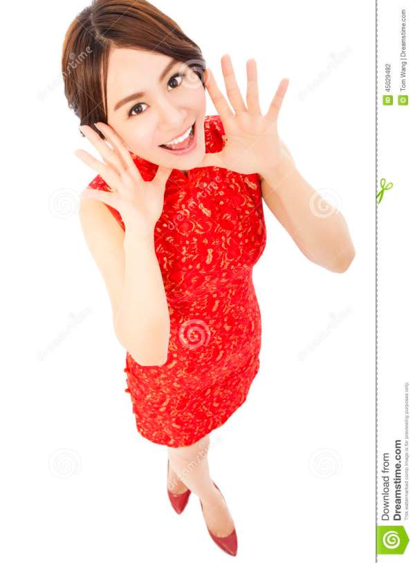 High Angle Shot Of Young Woman With Cheongsam Stock
