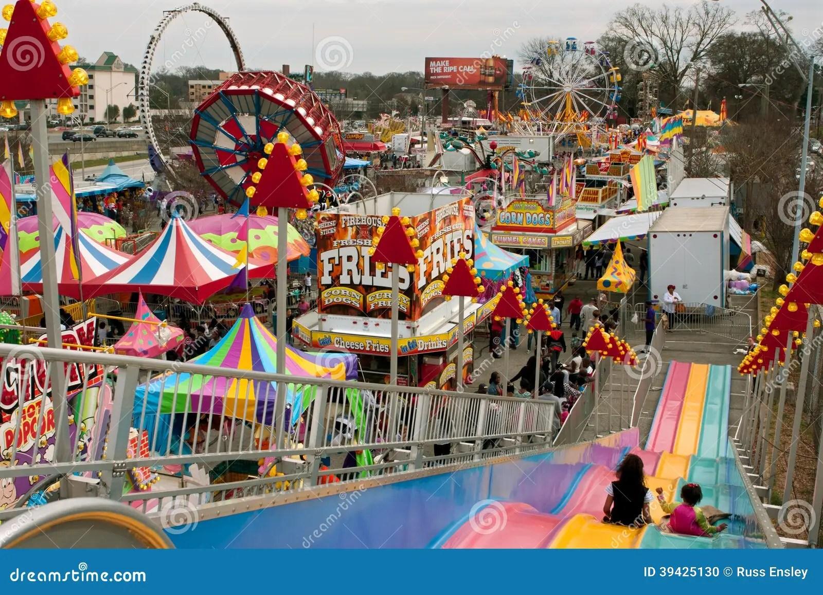 High Angle View Of Rides And Tents At Atlanta Fair