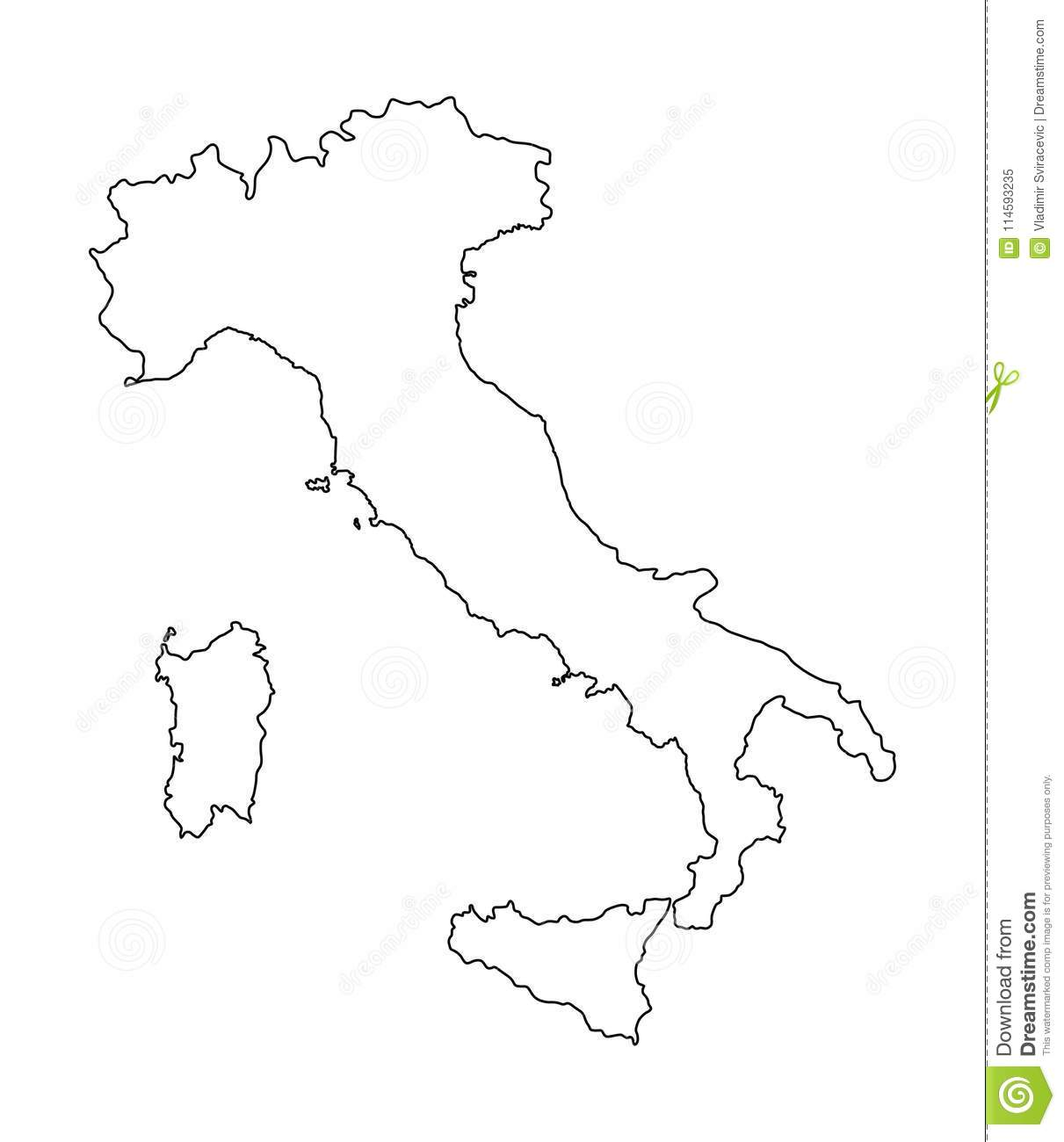 Italy Map Contour Silhouette Stock Illustration