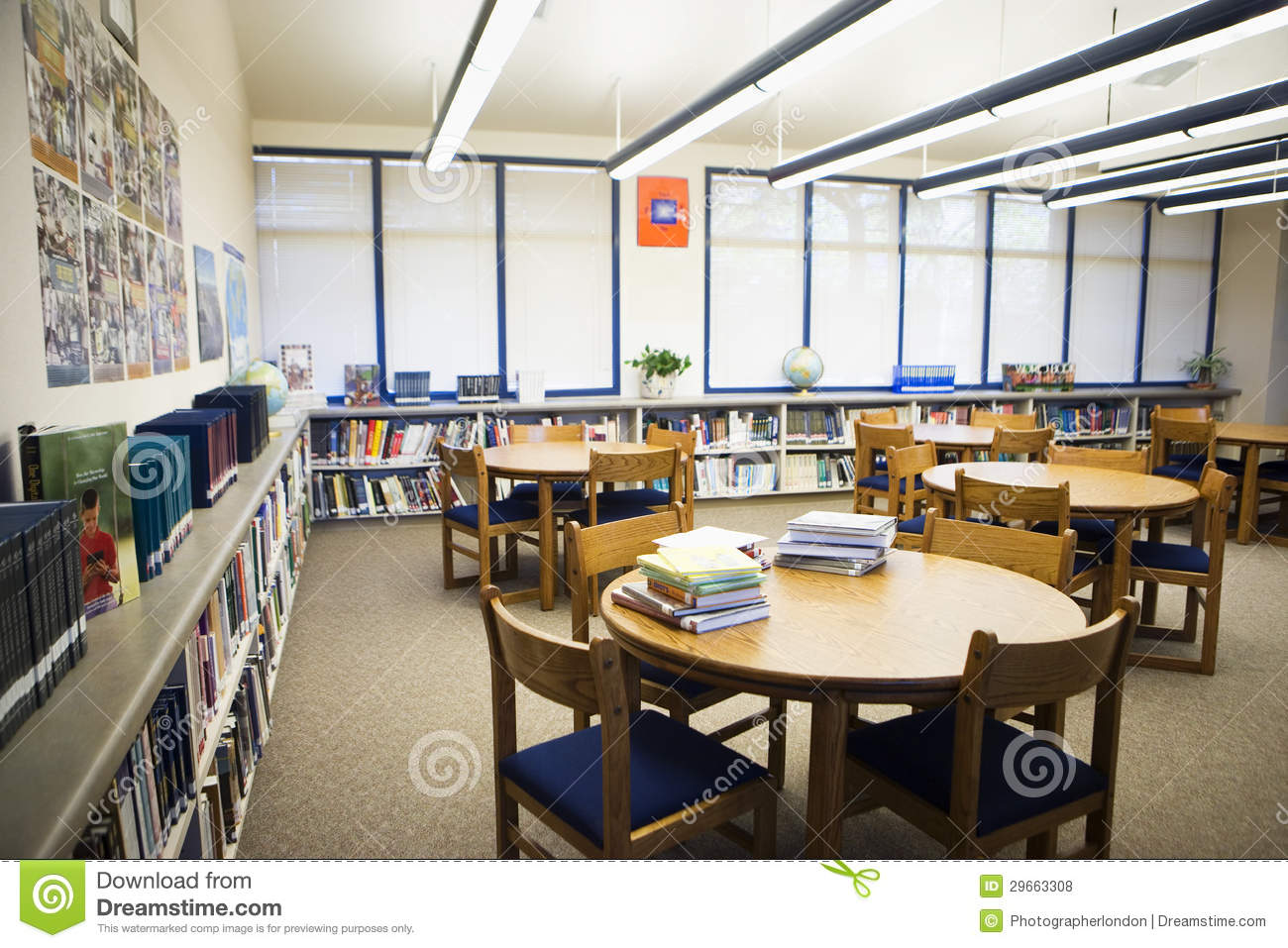 High School Library Reading Room Stock Photo