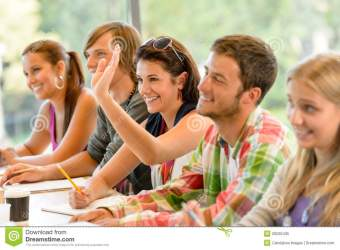student class raising hand teenagers study astronomy quiz students lesson royalty learning shutterstock del los enjoy campus