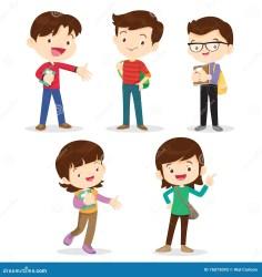 boy students cartoon boys character happy ragazza young studenti ragazzo della vector together teenage standing go teenagers smiling