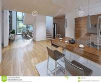 High-tech Styled Kitchen With Dining Room Stock Photo ...