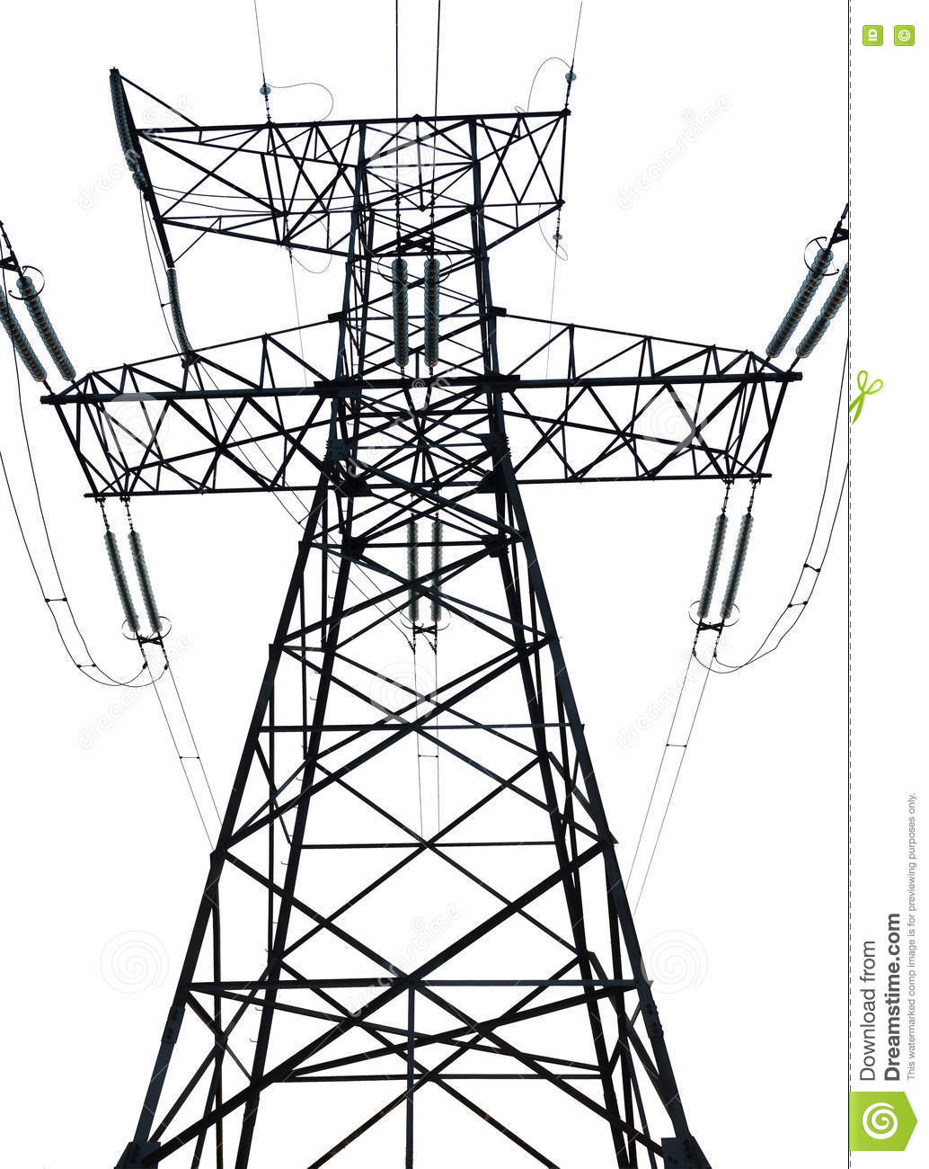 High Tension Power Line On White Isolated Background Stock