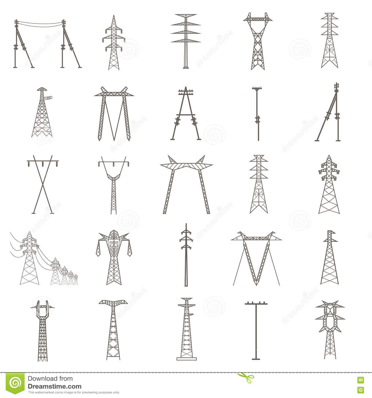 High Voltage Electric Line Pylon Icon Set Suitable For Creating Stock Vector