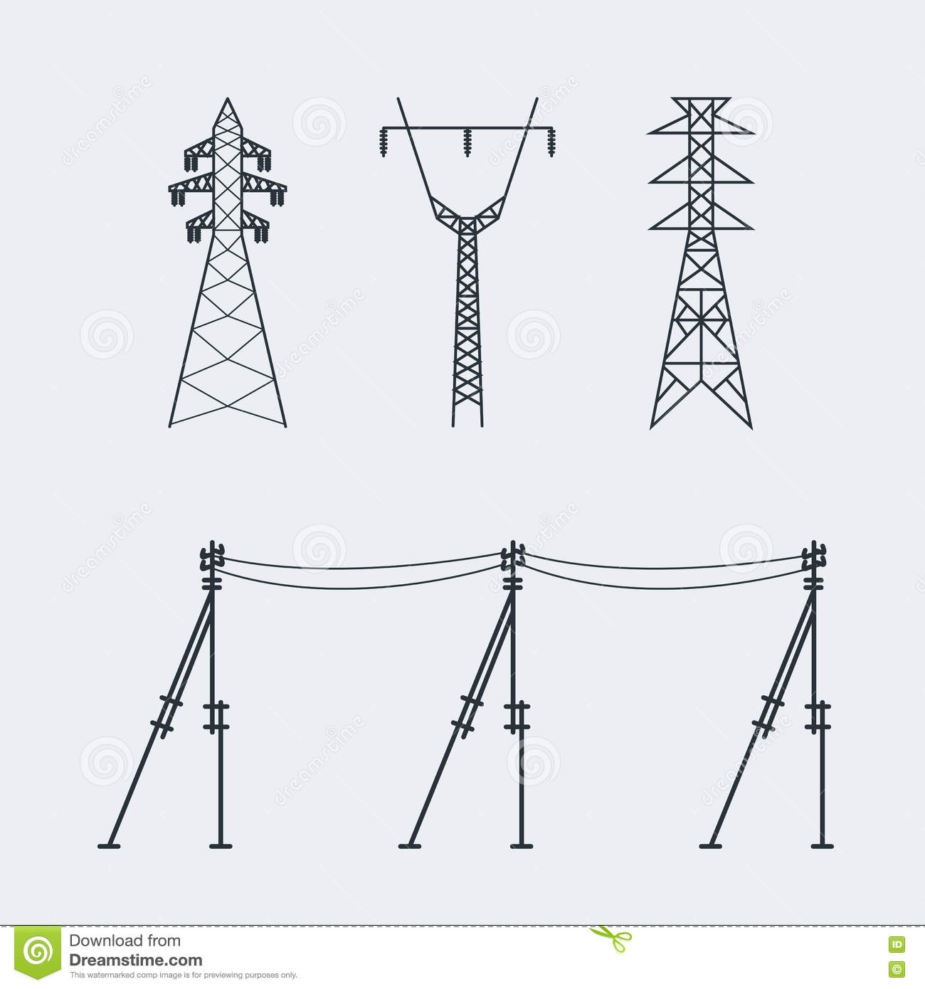 High Voltage Electric Line Pylon Icon Set Suitable For