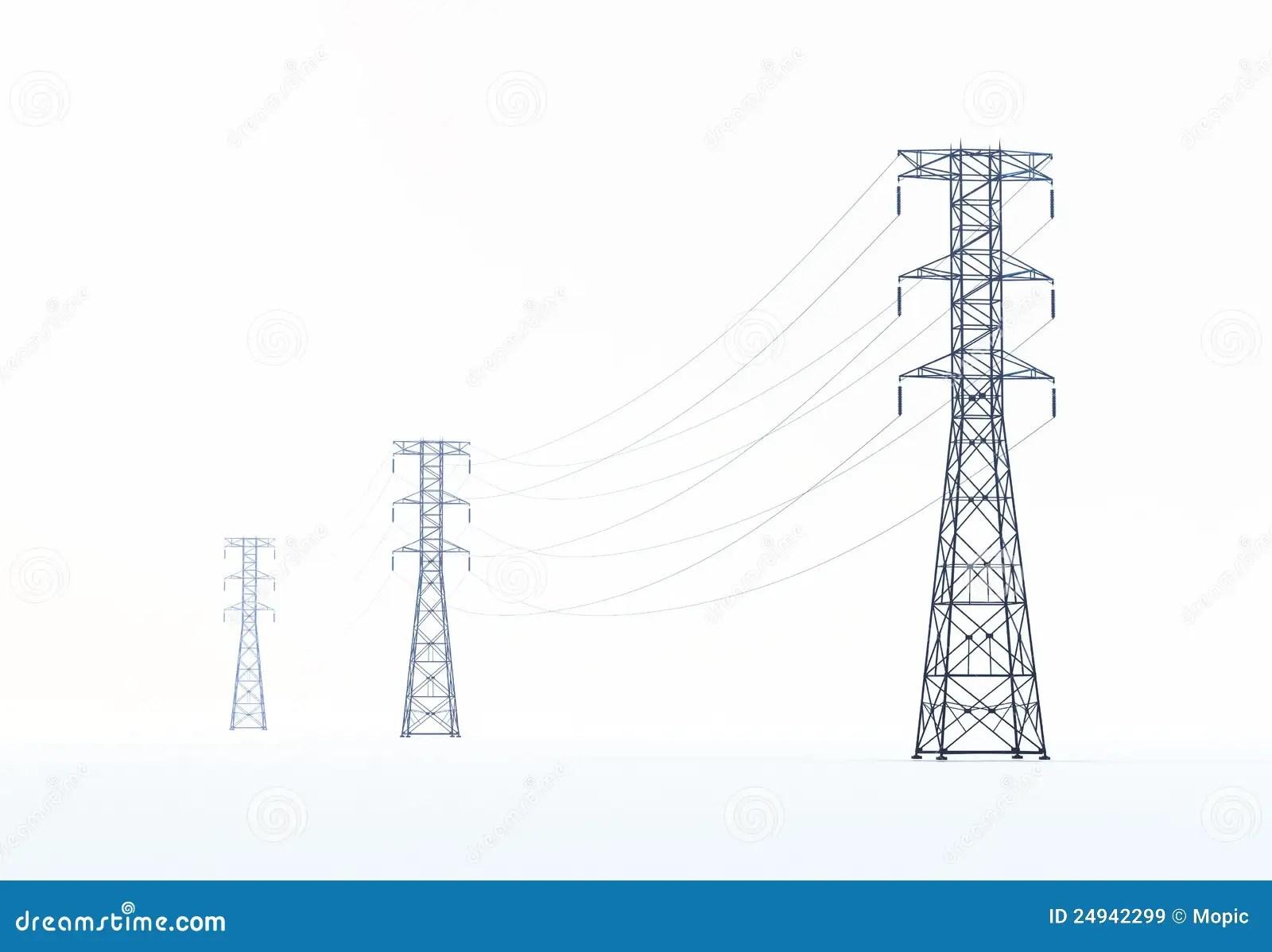 High Voltage Power Lines Stock Illustration Illustration