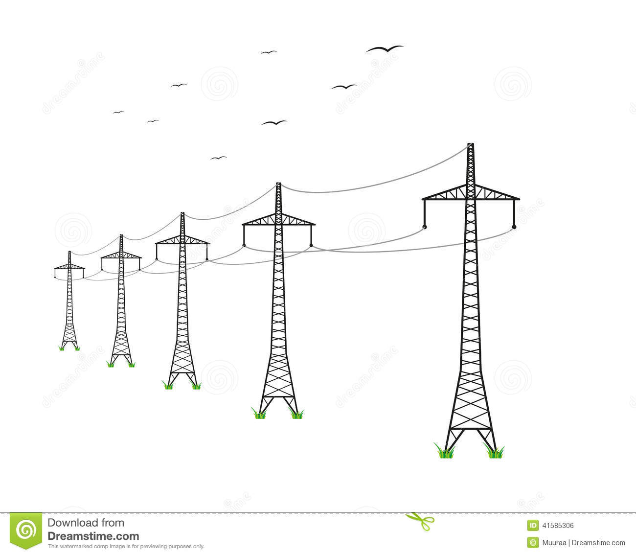 Vector High Voltage Pylons, White Background. Power Line