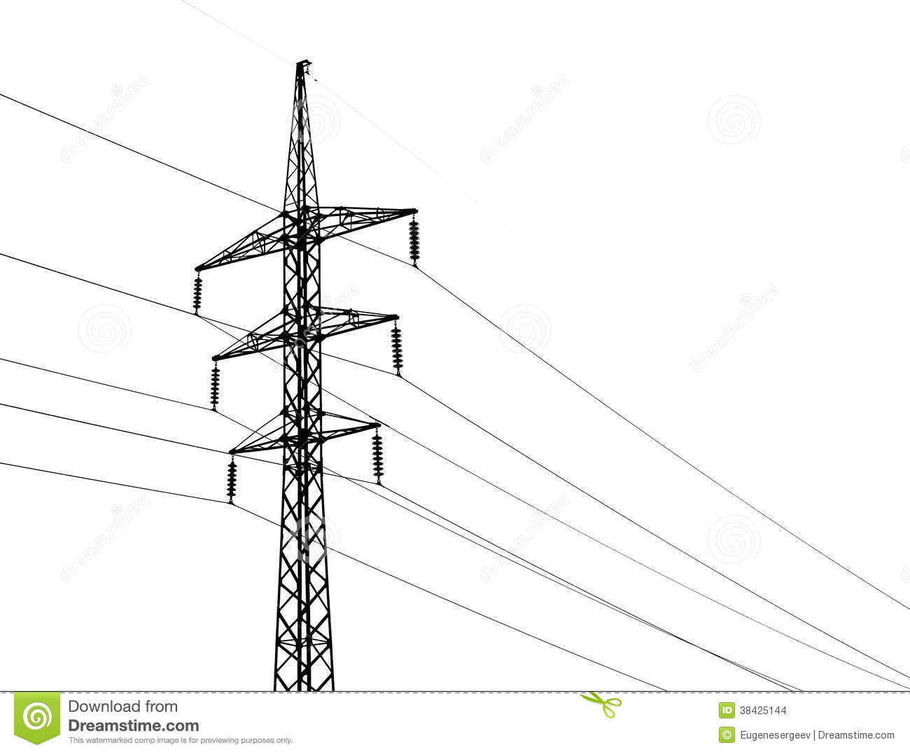 High Voltage Power Lines And Isolated On White Stock Photo