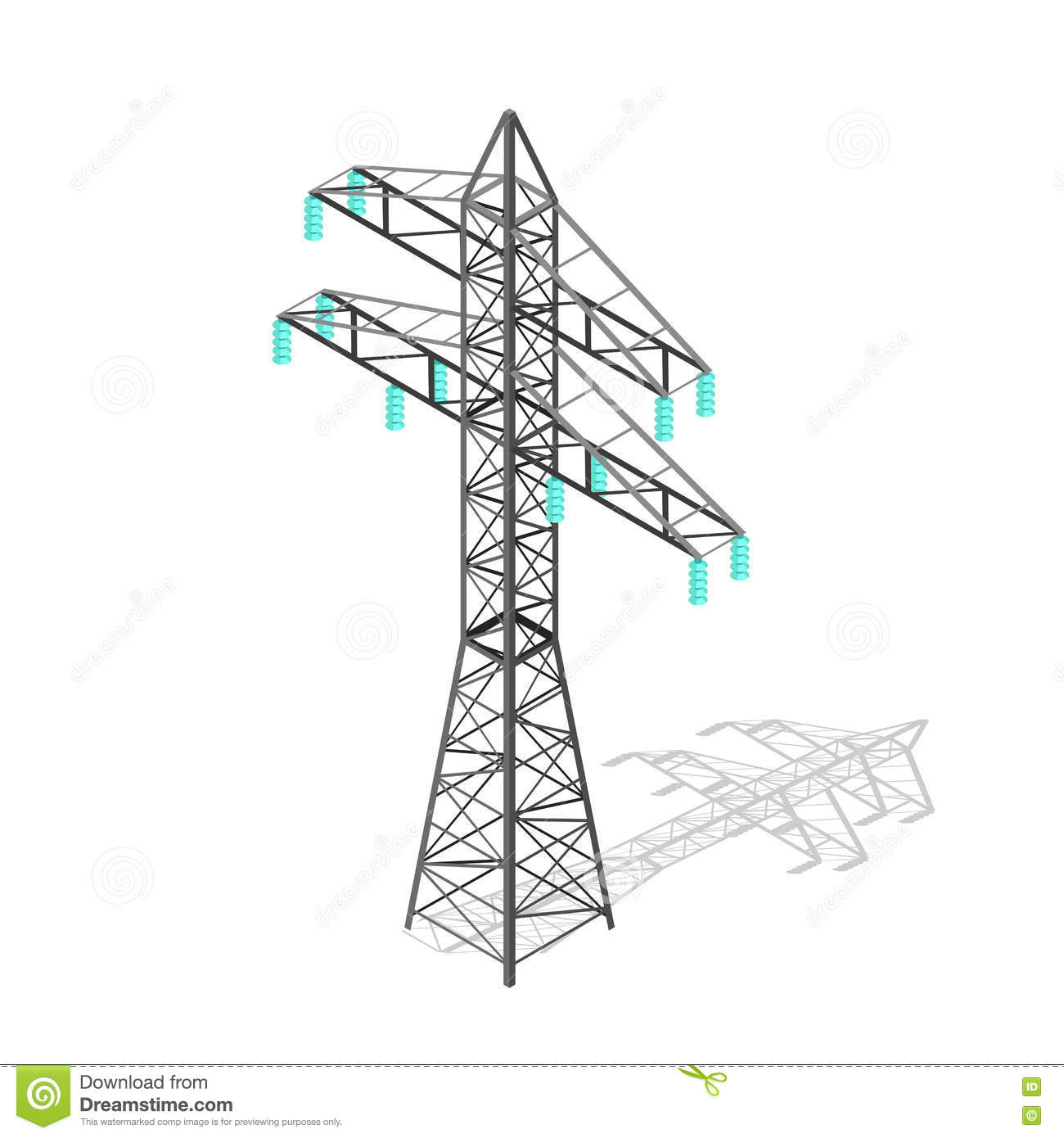 High Voltage Power Pylon Transmission Tower Vector Stock