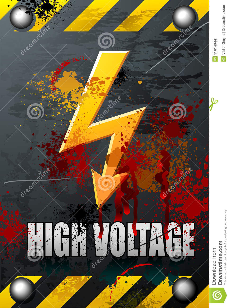 3d Electrical Plan High Voltage Sign Stock Images Image 11614044