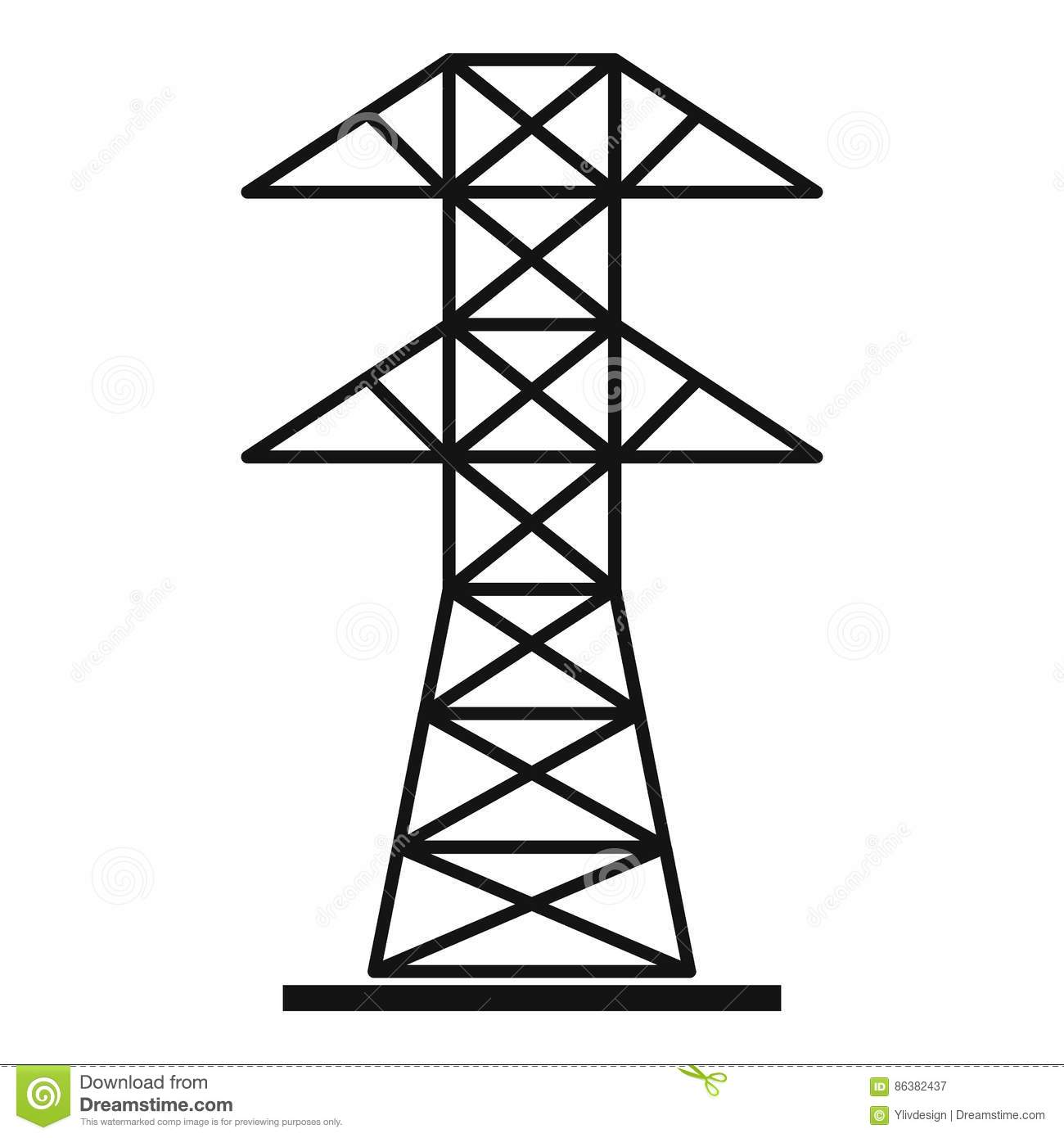 High Voltage Tower Icon Simple Style Stock Vector