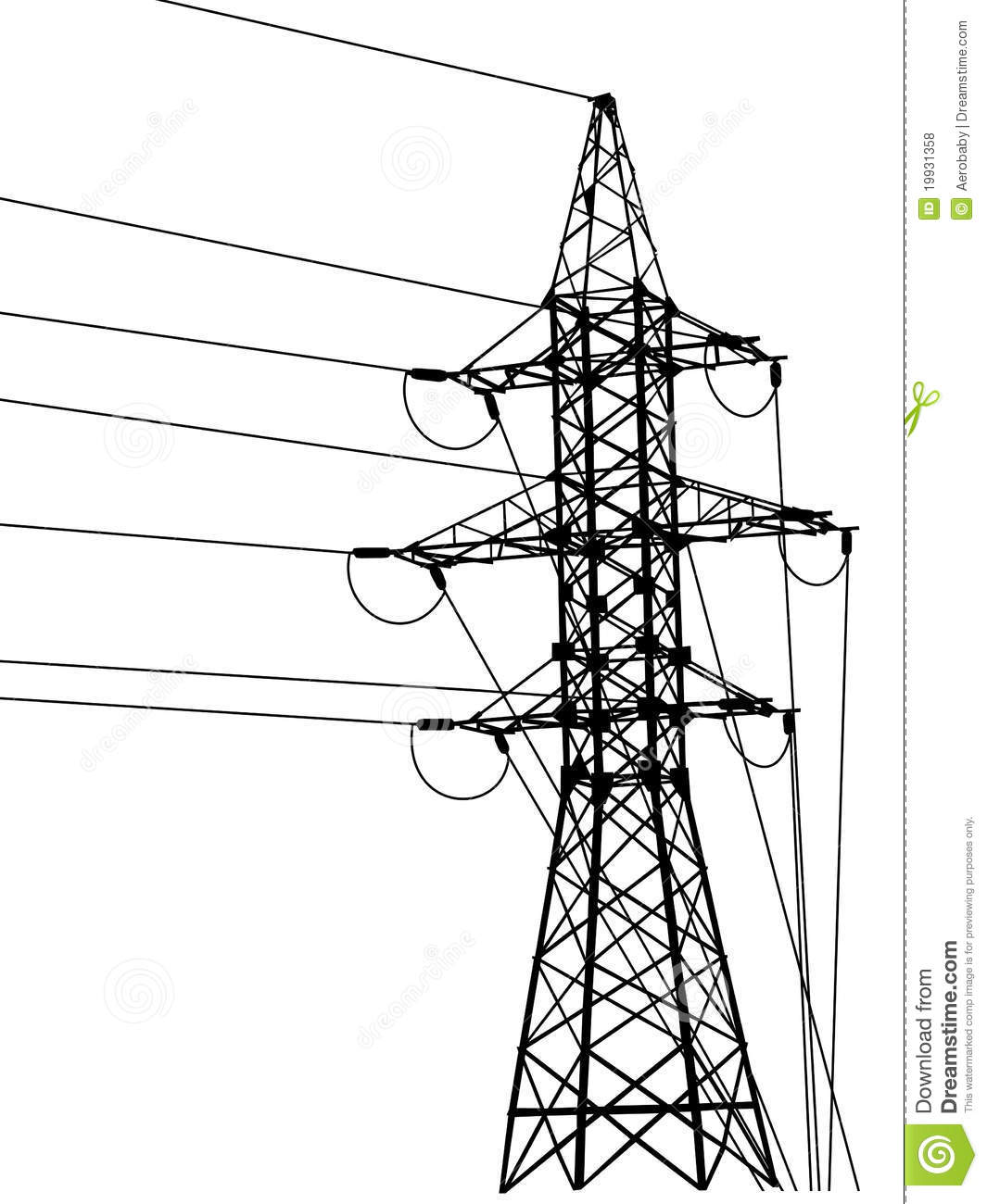High-voltage Tower Silhouette. Royalty Free Stock Photos