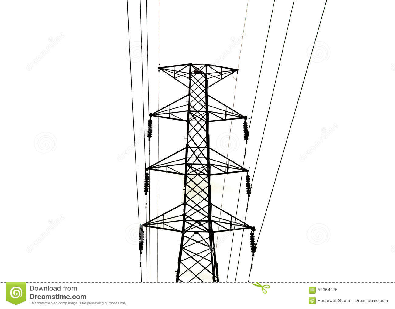 The High Voltage Transmission Lines Isolated On White