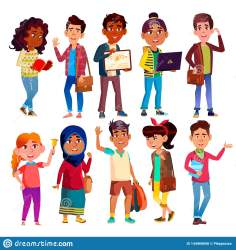cartoon teenagers characters highschool vector pupils happy smiling college boys education international female