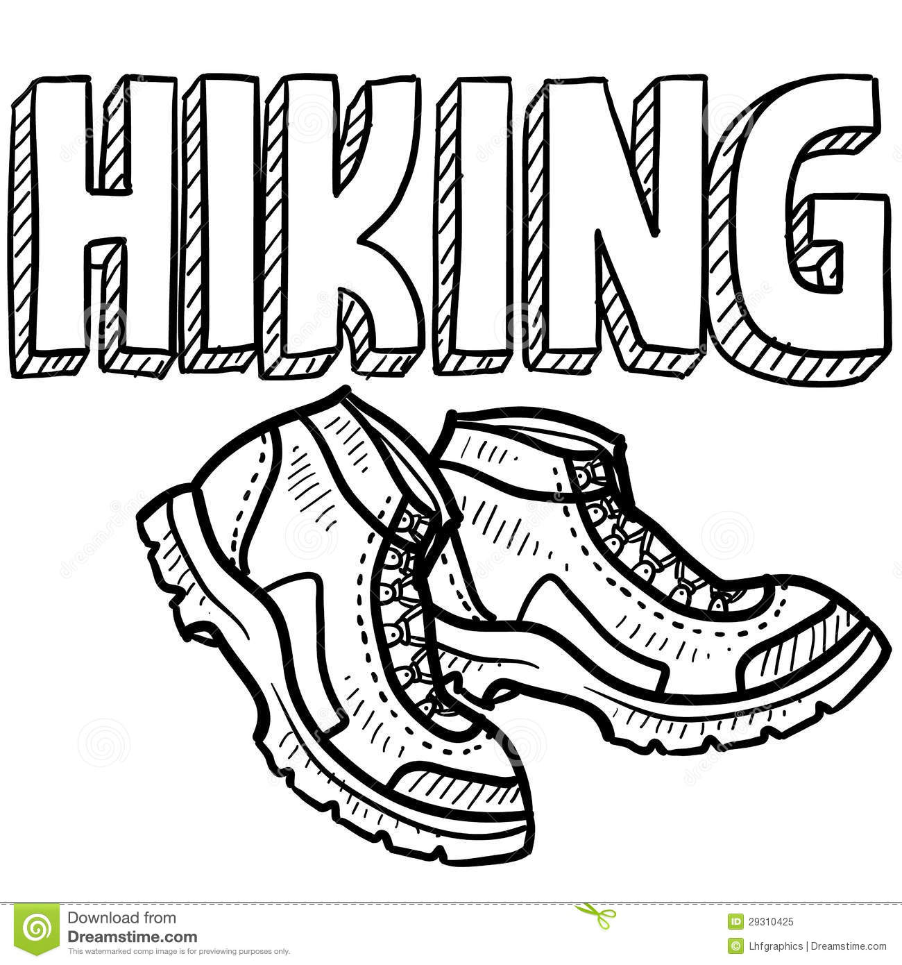 Hiking sports sketch stock vector. Illustration of
