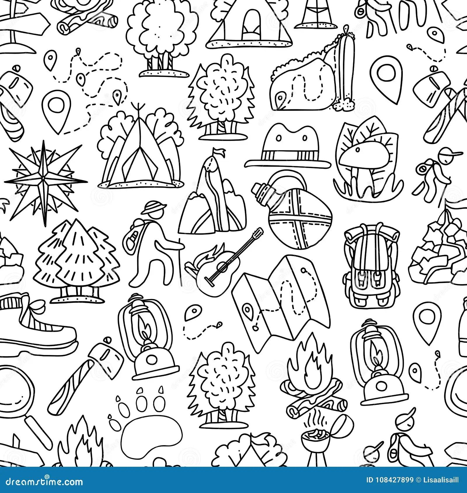 Hiking And Trekking Travel Seamless Pattern. Endless