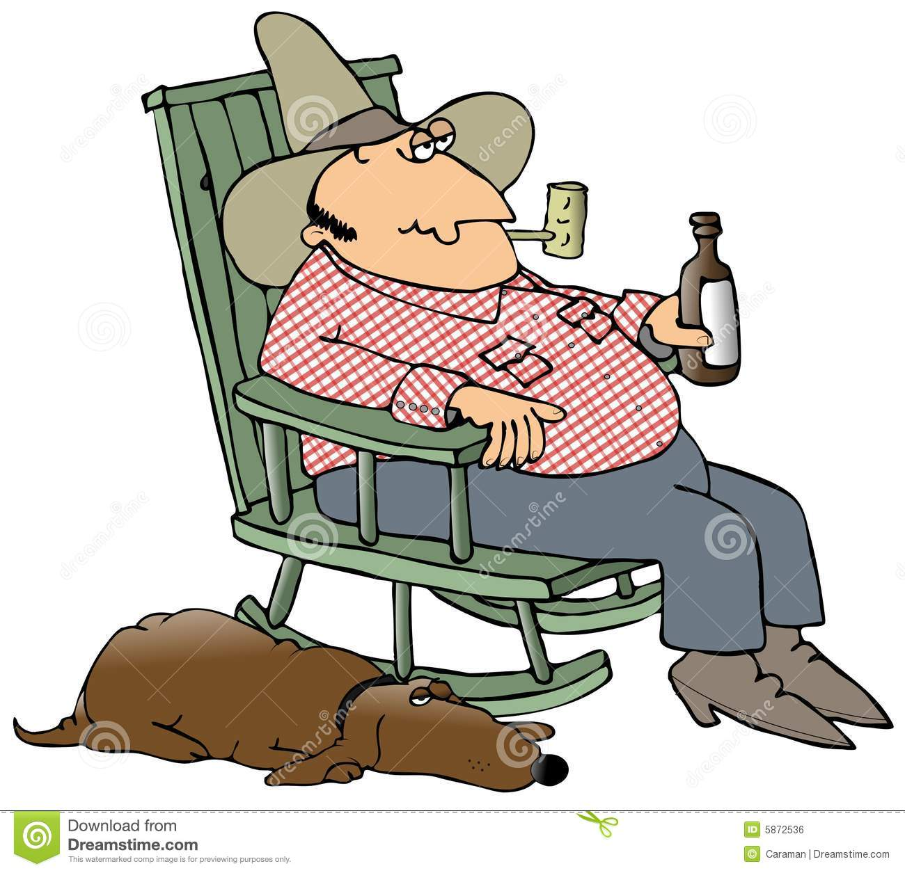 hight resolution of hillbilly and his dog this illustration depicts a hillbilly sitting in a rocking chair drinking