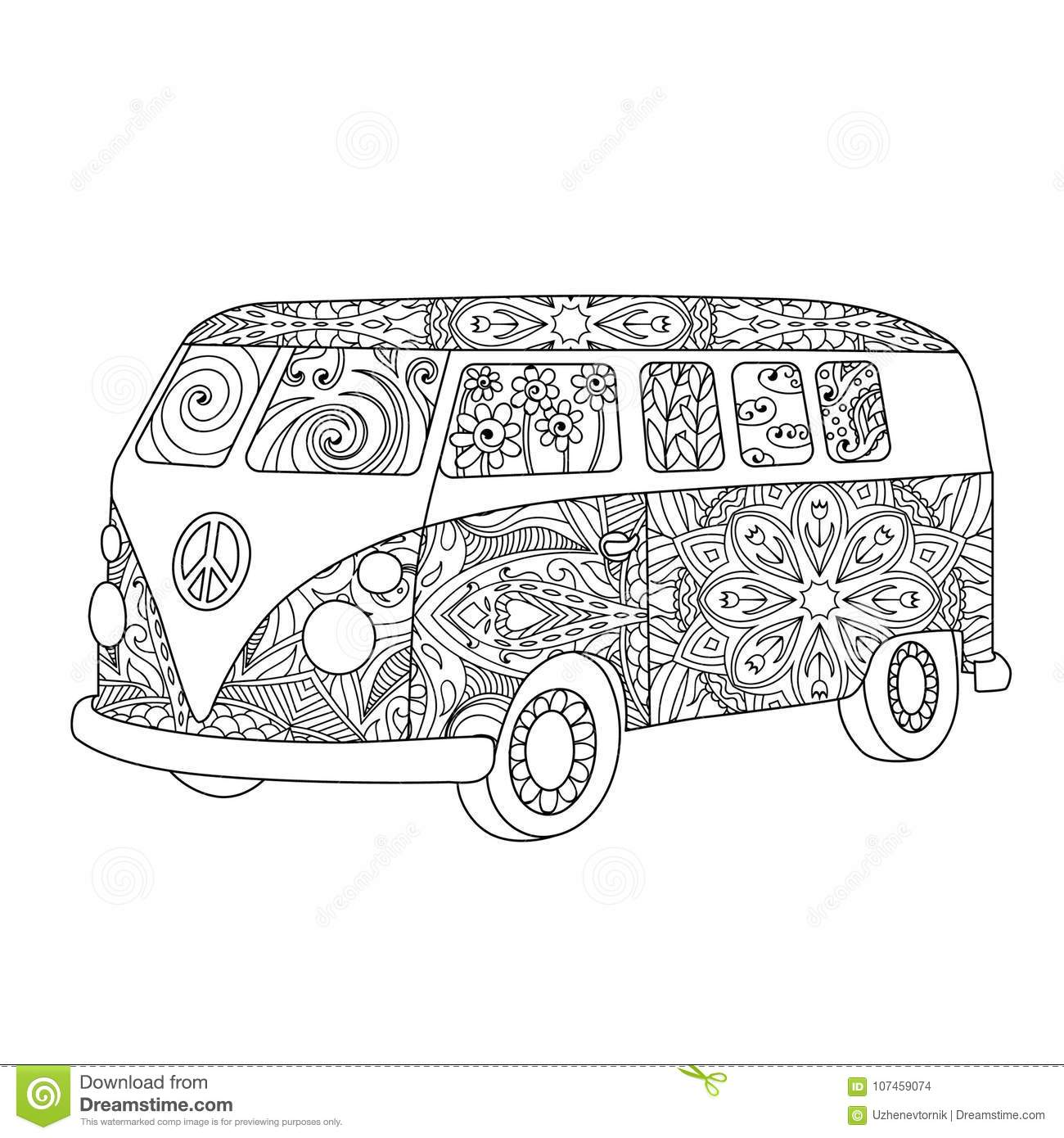 Hippie Vintage Bus For Adult Or Children Coloring Book