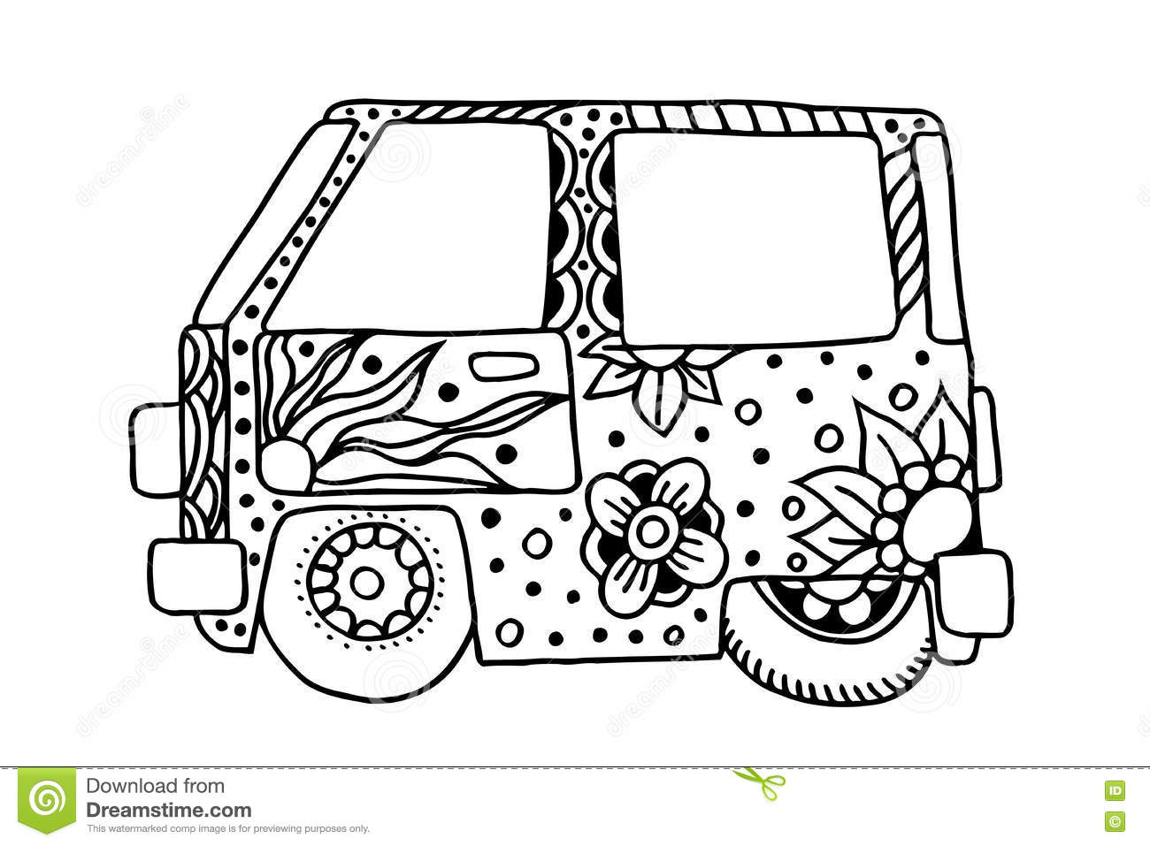 Vintage Car In Zentangle Style Vector Illustration