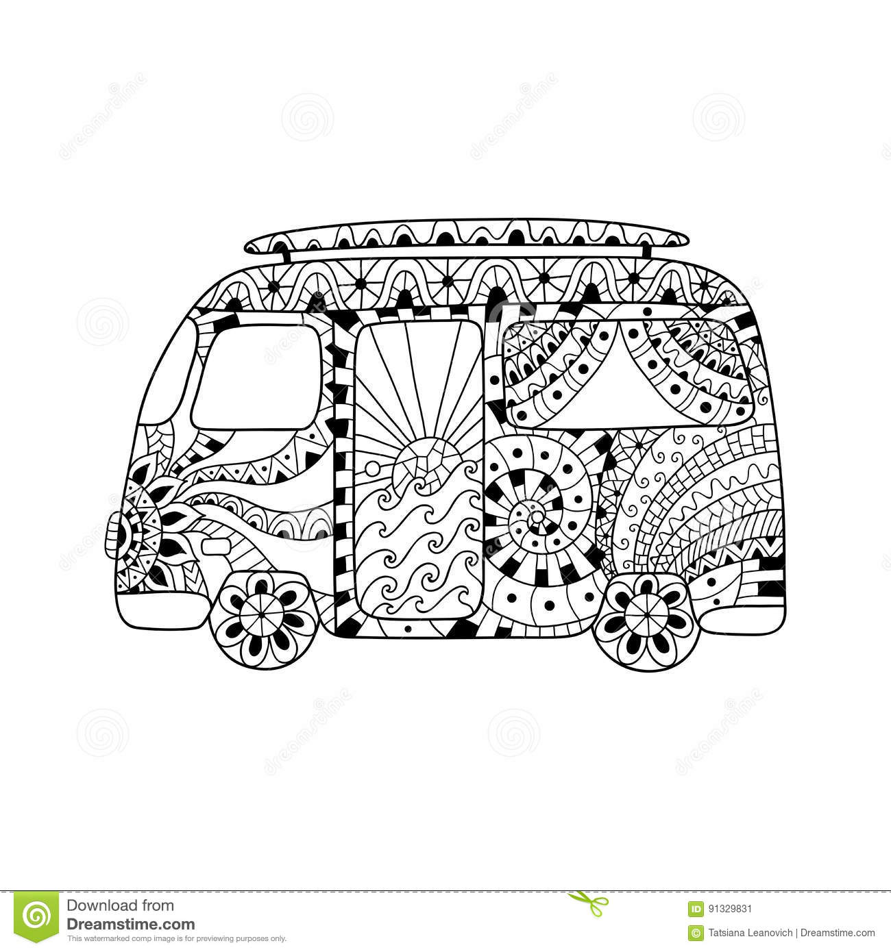 Hippie Vintage Car A Mini Van In Zentangle Style For Adult