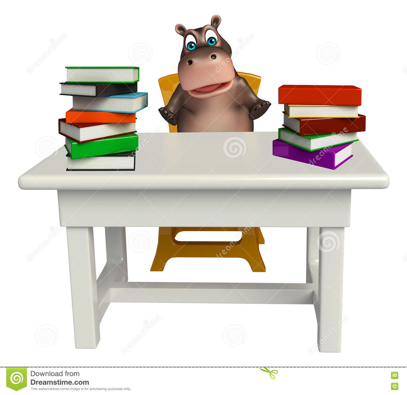 Hippo Cartoon Character With Book And Table And Chair