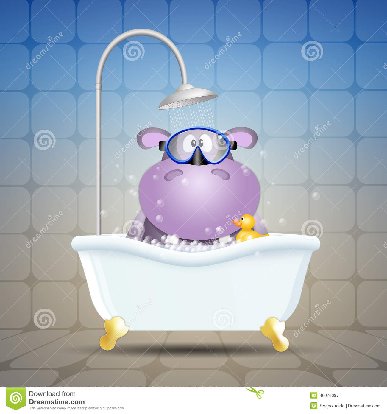 Hippo With Diving Mask On Bath Stock Illustration Image 40076087