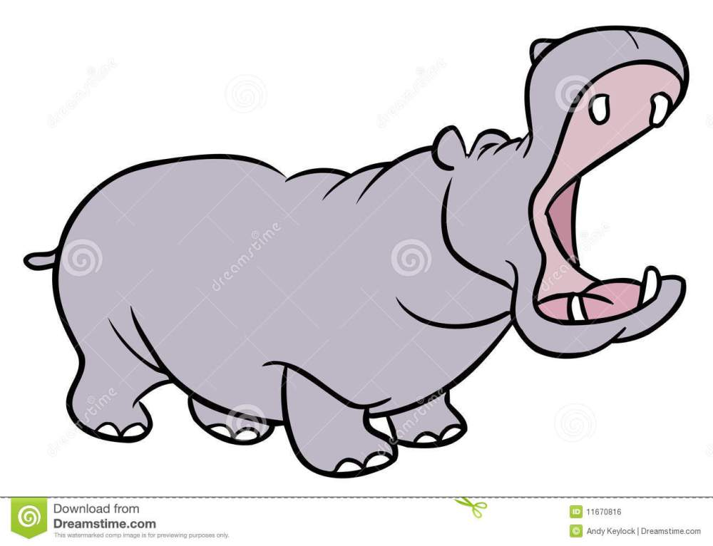 medium resolution of cartoon illustration of a hippopotamus with mouth wide open and eyes closed