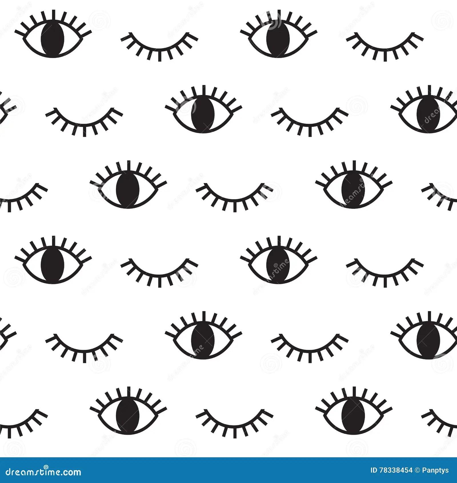 Hipster Black Eye Vector Pattern Stock Vector