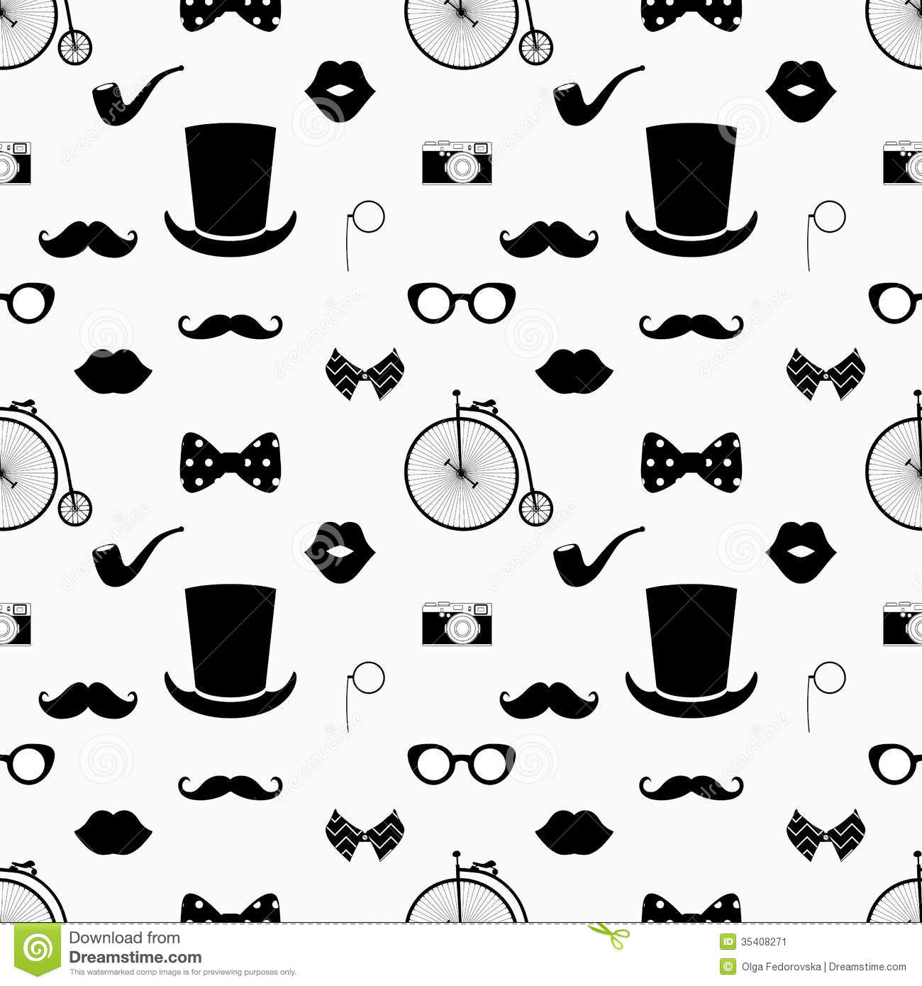 Hipster Black And White Seamless Pattern Stock Vector