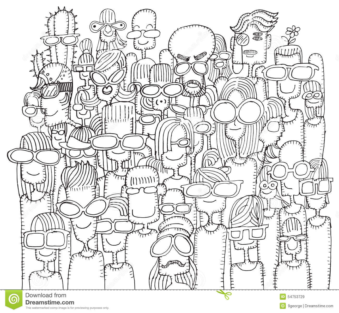Hipster Hand Drawn Doodle Crowd Of Happy People In