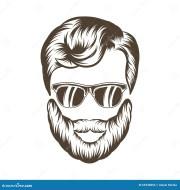 hipster man hair and beard. hand