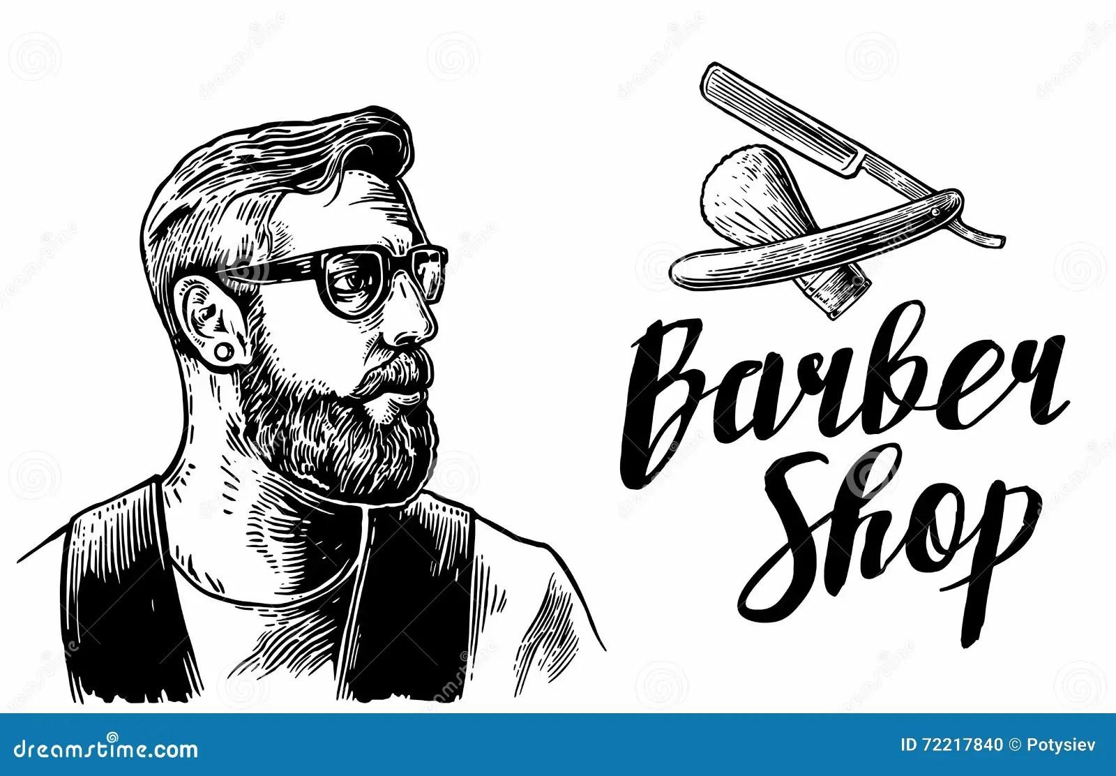 Barbershop Lettering Vector Vector Illustration