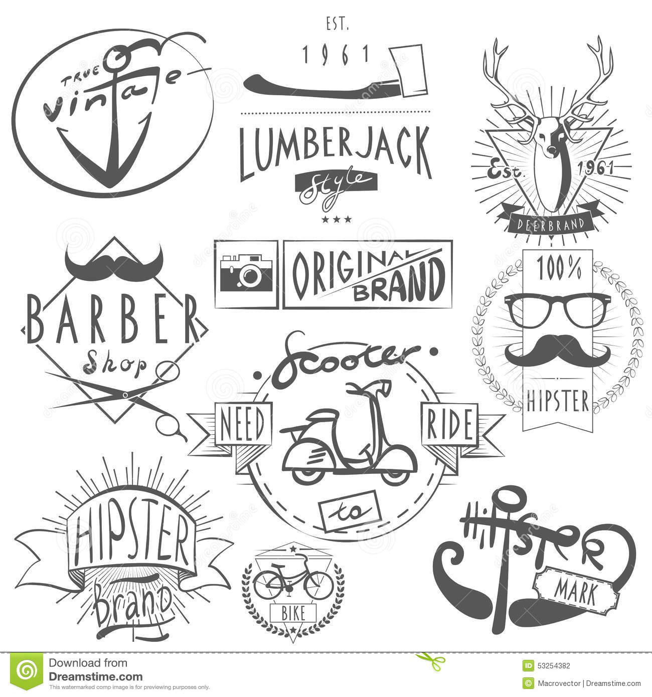 Set Vector Vintage Sign And Logos Scooter Stock Image