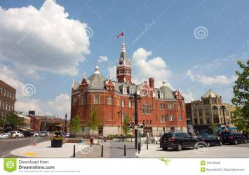 southern ontario town building historic located canadian proudly flag
