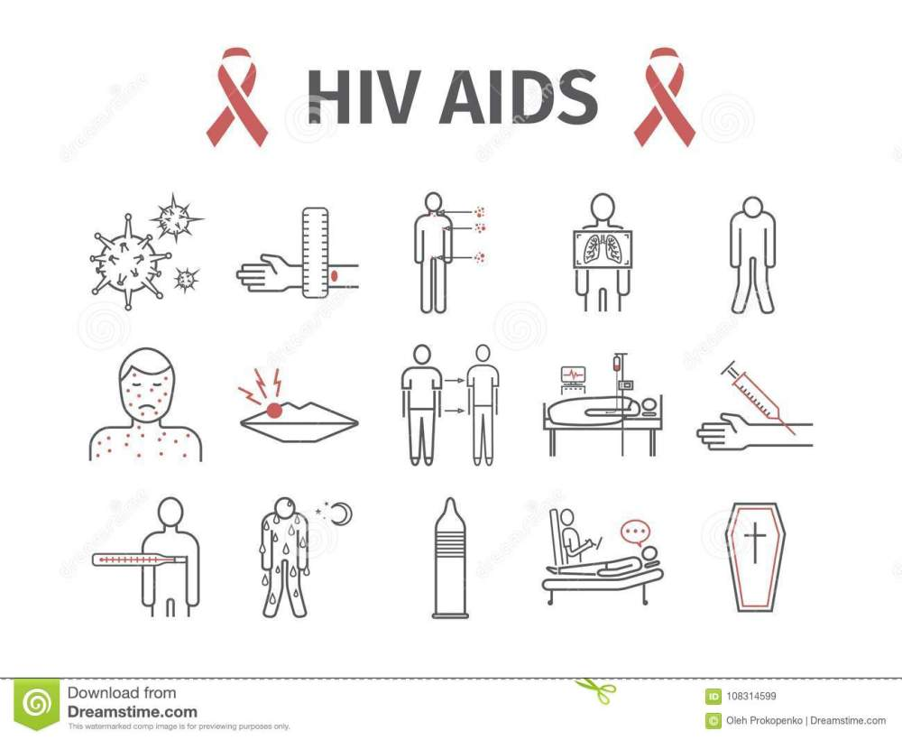 medium resolution of hiv aids symptoms treatment line icons set vector signs for web graphics