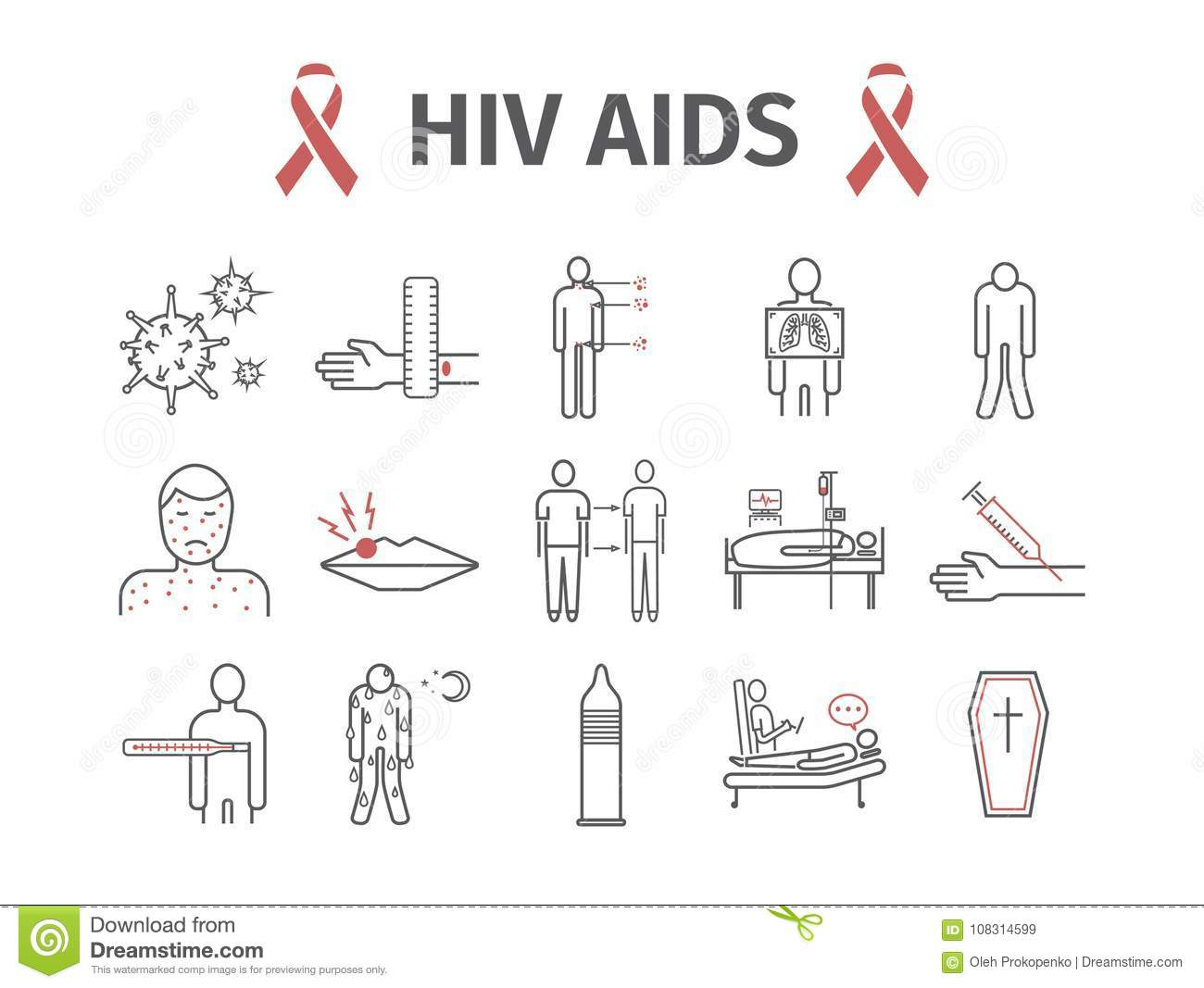 hight resolution of hiv aids symptoms treatment line icons set vector signs for web graphics