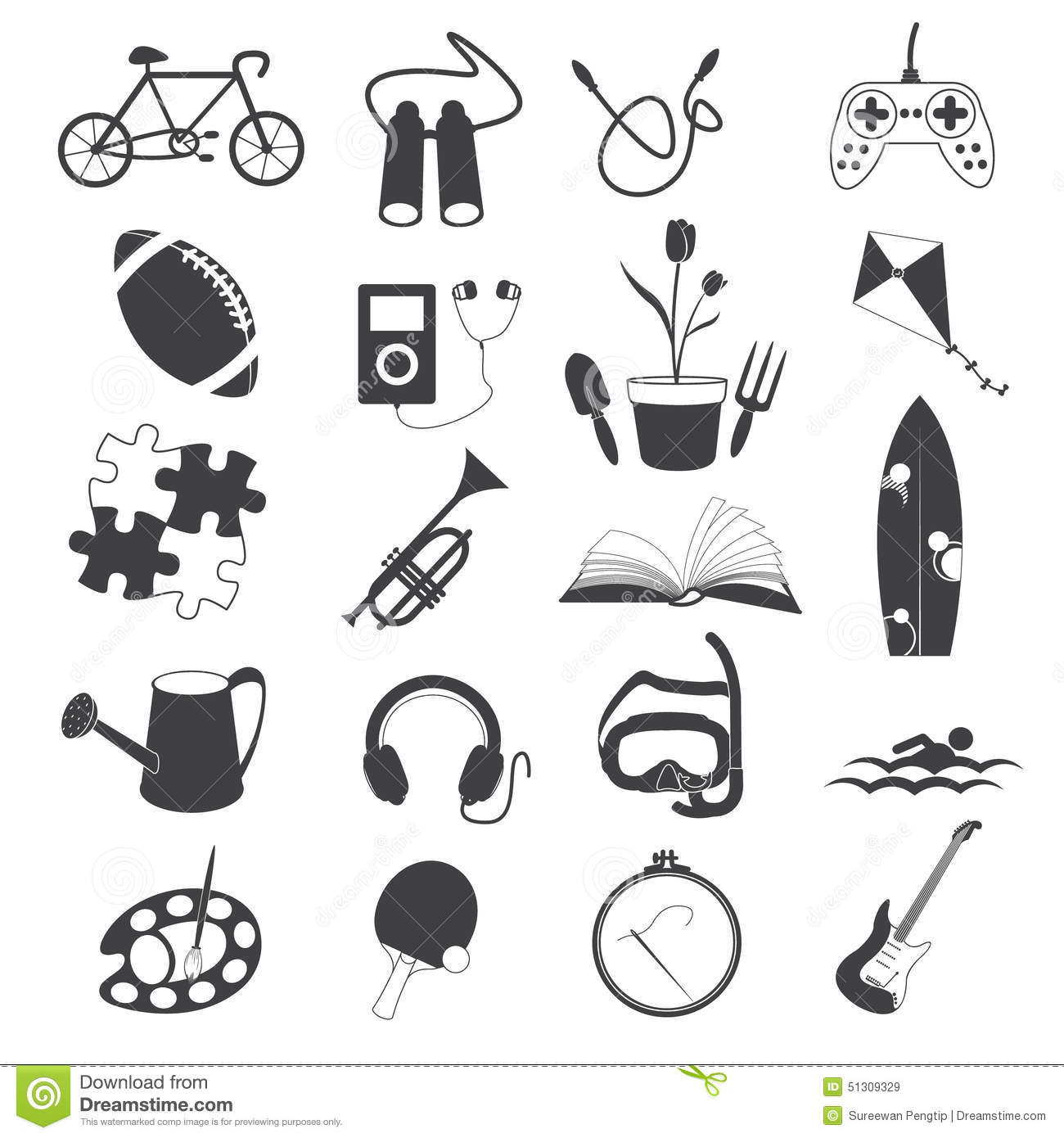 Hobby Icons Isolated On White Background Stock Vector