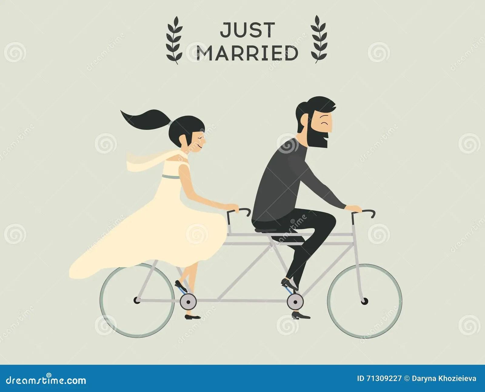 Hochzeitspaare auf Fahrrad vektor abbildung Illustration