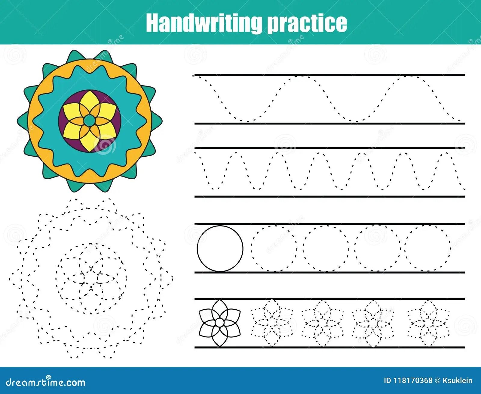 Hoja De La Practica De La Escritura Juego Educativo De Los