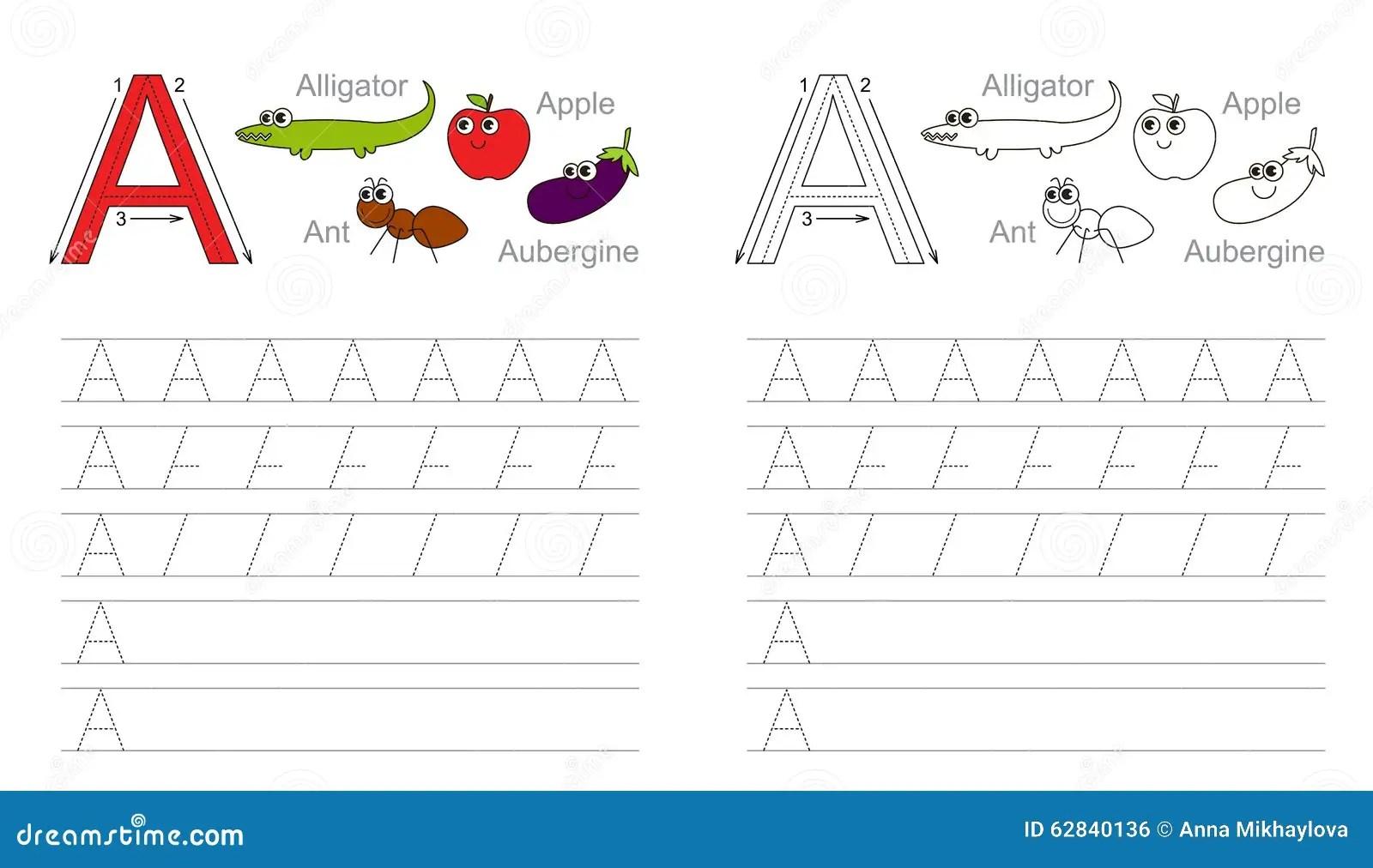 Hoja De Trabajo De Trazado Para La Letra A Ilustracion Del Vector
