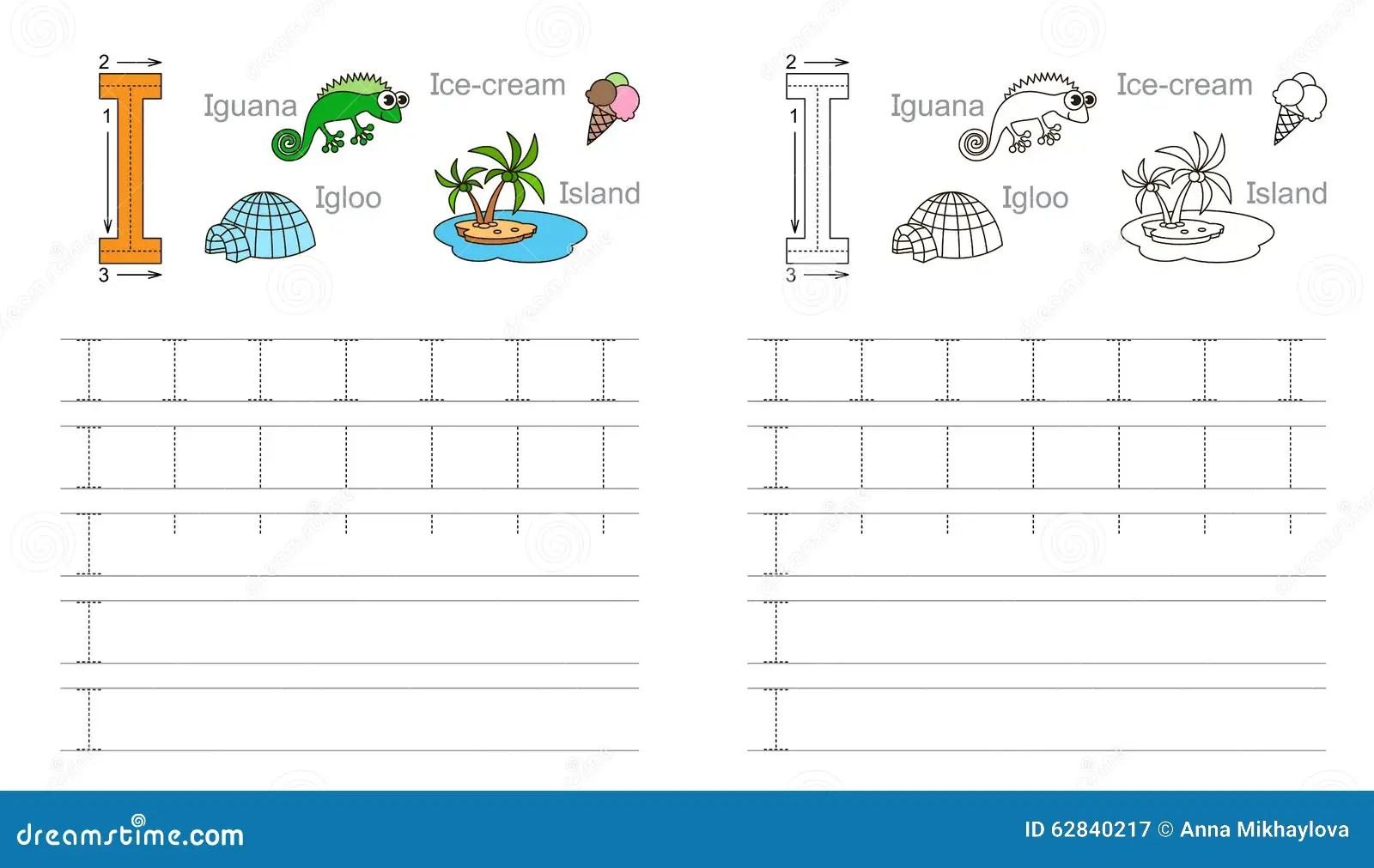 Hoja De Trabajo De Trazado Para La Letra I Ilustracion Del Vector