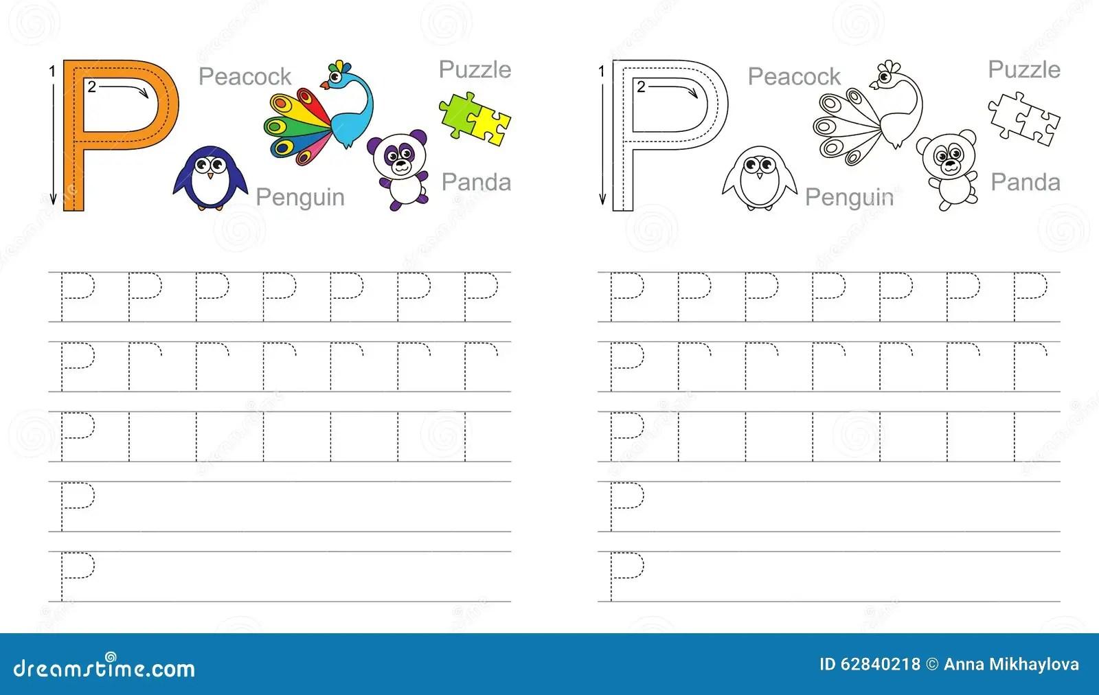 Hoja De Trabajo De Trazado Para La Letra P Ilustracion Del Vector