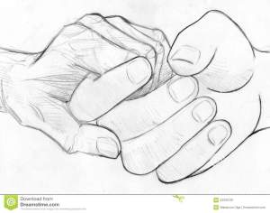holding hand sketch pencil elderly hands drawing drawn young help symbol illustration sketched compassion