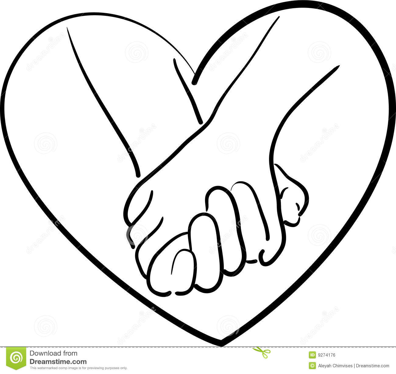 Couple Holding Hands Drawing Easy Colorable Valentines Day Kids