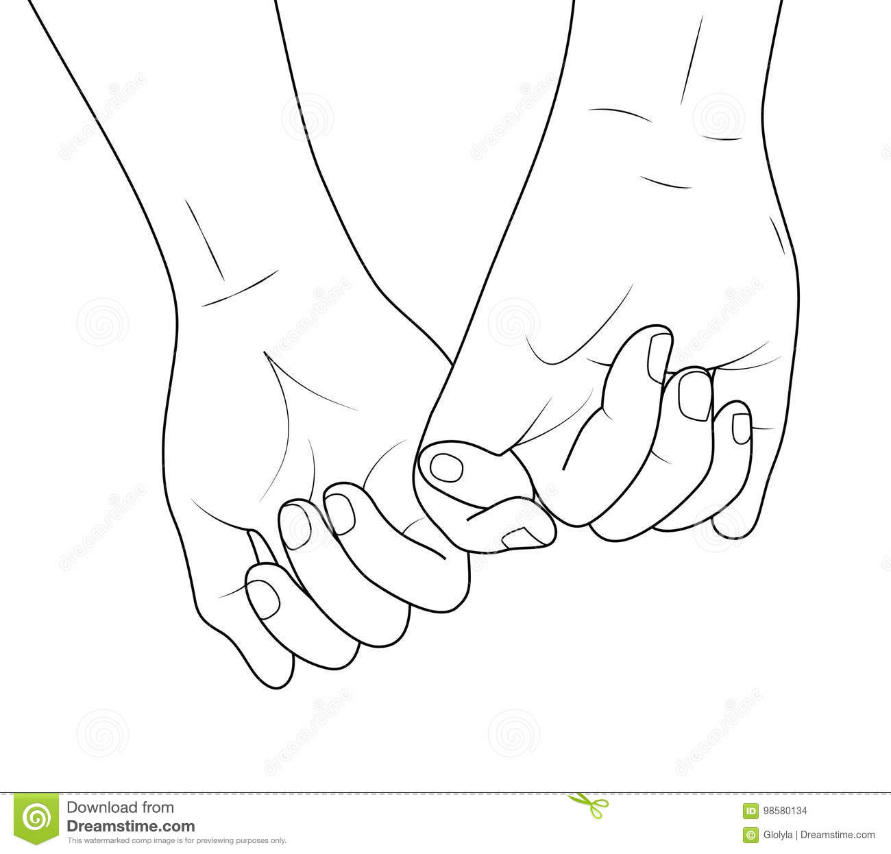 Holding Hands Outline Stock Vector Illustration Of